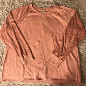 AEO pink sweatshirt w/ velvet sleeves